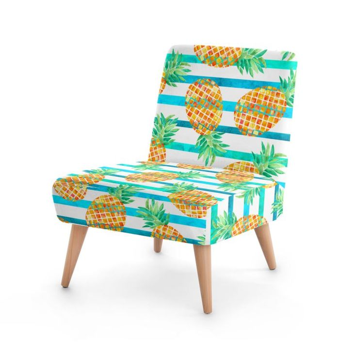 Pineapple Sea Stripes Occasional Chair #botanical #pattern #furniture #design #fashion #home #hometrends #chair #pineapple