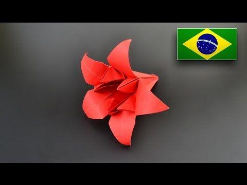Origami: Flor de Íris Pentagonal / Lírio - Instruções em Português BR - YouTube