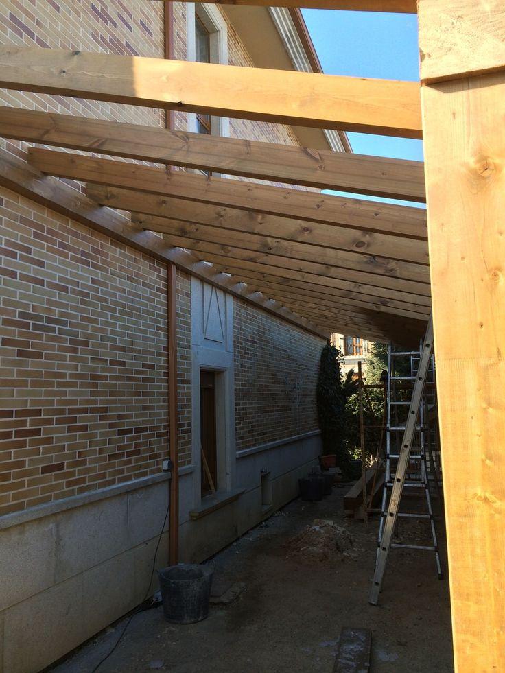 comenzamos con la construccin de un nuevo porche de madera adosado a una vivienda toda