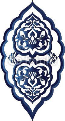 Traditional antique ottoman turkish tile illustration