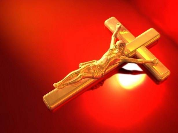 Golden Jesus Christ on The Cross Wallpapers Red Backgrounds