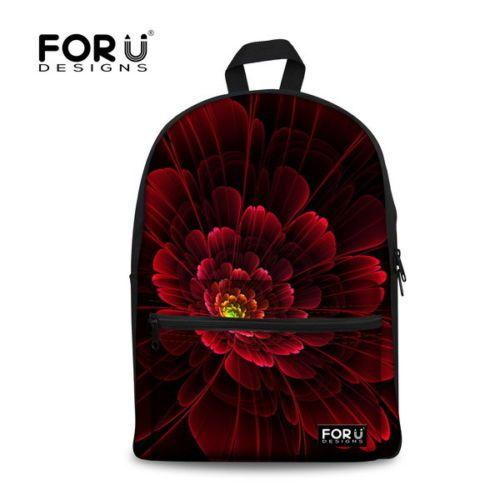 For-U-Designs-Dark-Flower-School-backpack-Notebook-Rucksack-Satchel-Bag-Women