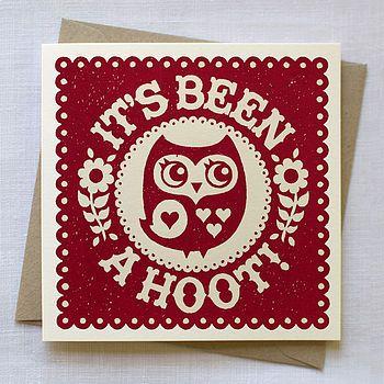 'It's Been a Hoot' Owl Card Pinned by www.myowlbarn.com
