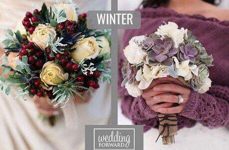 Основные тенденции в исполнении свадебного букета на 2018 год. Свадебные букеты в зимнюю пору не уступают в оригинальности, предлагая насыщенные красные, бордовые ,темно-синие цвета свадебного букета, а так же контрастную палитру в виде пастельных оттенков роз ,пионов ,гортензий ,эустома и т,п, Зимой можно по оригинальничать ,выбрав композицию с анемонами и хлопком, имитирующими снег на цветочках.