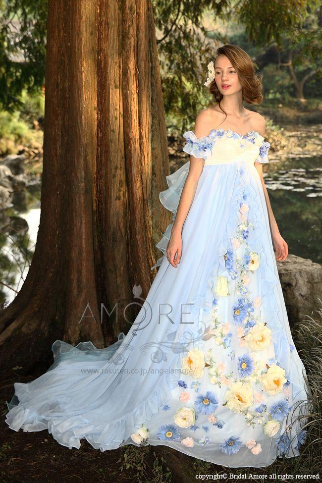 【楽天市場】【送料無料】ウェディングドレス_ウエディングドレス_Aライン_エンパイア(c118)二次会ドレス:ブライダルアモーレ