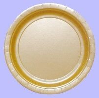 "Gold 9"" Paper Plates (Qty per unit: 8).  Keep the Mardi Gras theme going throughout your party with using disposable tableware with contrasting colours in traditional Mardi Gras colours. http://www.novelties-direct.co.uk/gold-9-paper-plates-8-in-a-packet.html"