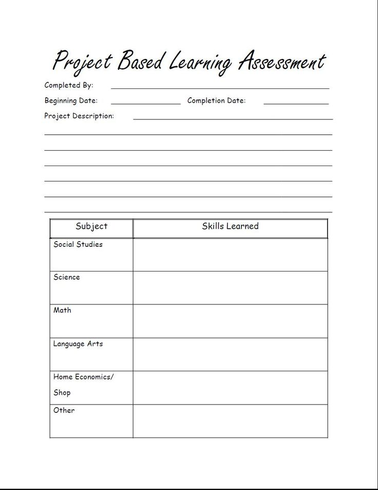 Free printable Project Based Learning Assessment for homeschool