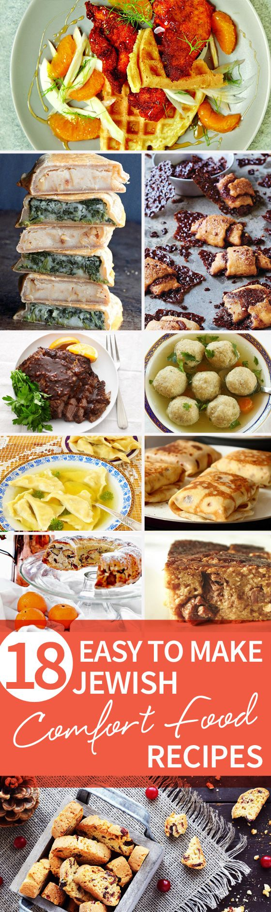 Find 18 of the BEST Jewish comfort foods of all time right here! Follow along with our 18 Easy to Make Jewish Comfort Food Recipes article for your next meal! http://www.joyofkosher.com/2016/12/18-easy-to-make-jewish-comfort-food-recipes/