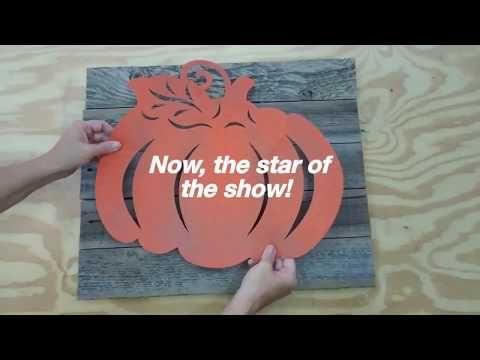Using Dollar Tree pumpkin  as stencil  to make wooden  decor
