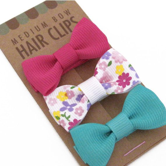 Pretty #Packaging   Hair Bow Clip  Set of 3 Alligator Clips Fully Lined by Misopolis, $16.00