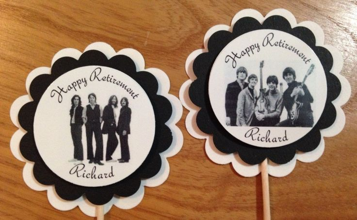 The Beatles party CUSTOM cupcake toppers birthday retirement thank you PERSONALIZED by Hardtofindparty on Etsy