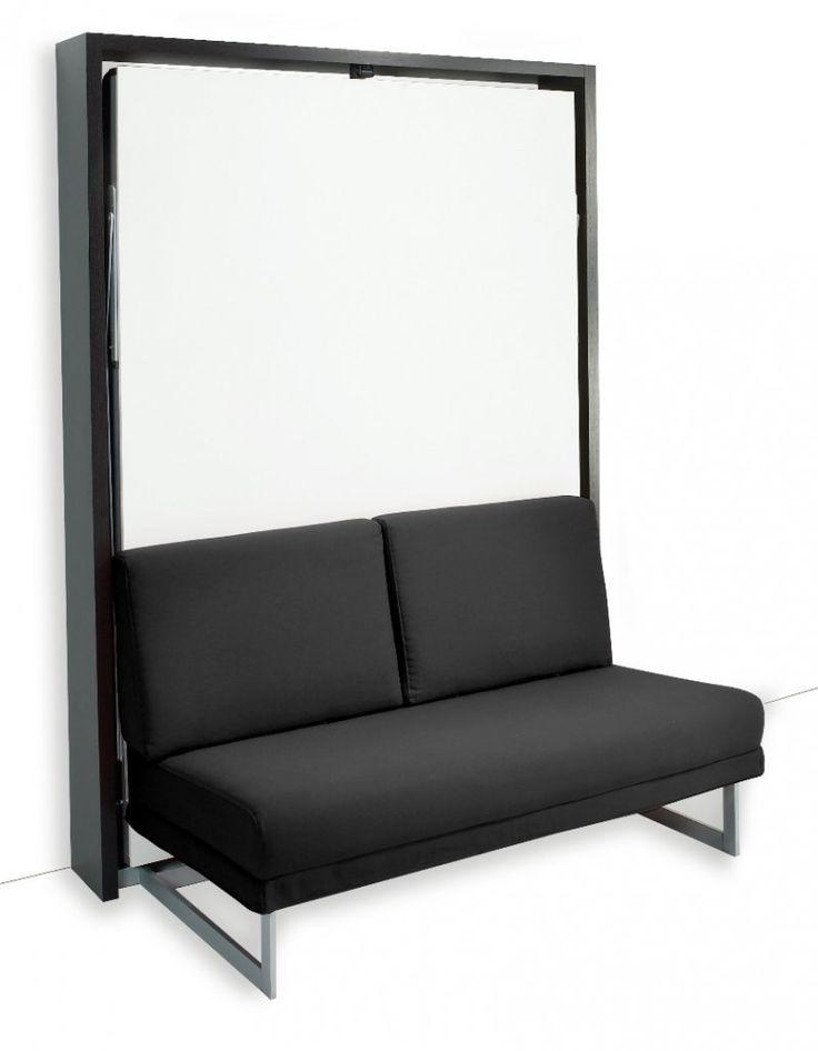 Armoire lit verticale MAGIC structure wengé façade blanc mat canapé noir