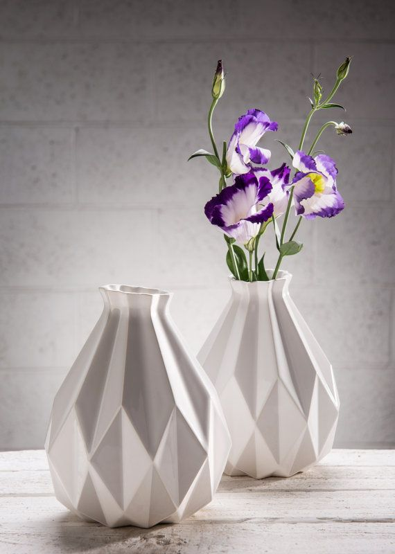 Spring SALE celebration. This white ceramic geometric vase is Inspired by Origami, its a lovely gift idea for her or for him, add a touch of