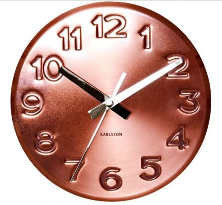 Karlsson Clock In Copper With Silver Hands Home