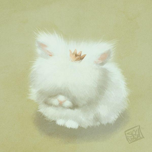 Fluffy bunny princess by S.K.Y. van der Wel     #illustration #bunny #bunnies #childrensbooks #fluffy #princess #whimsical #artist #art