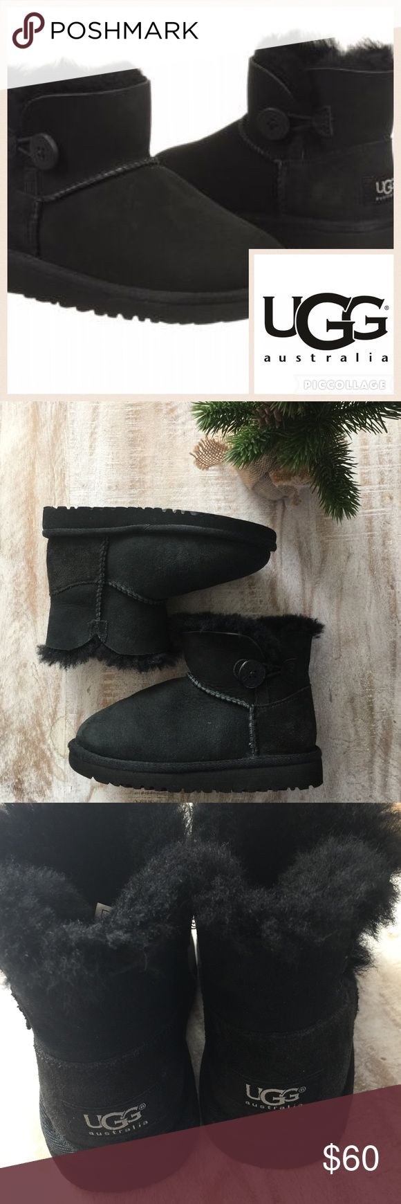 🎄KIDS! Ugg Mini Bailey Button Toddler Boot/Blk/11 Keep your little ones toes warm this winter! This miniature Bailey Button is a playful twist on the Classic Boot. Featuring genuine Twinface sheepskin and logo button, this boot is comfortable and adorable! Twinface Wood button closure UGGpure™ wool insole EVA outsole Dept store closeout/customer return.  Worn once or twice, only sign of wear is on fabric around the toe area as pictured. Suede in perfect condition, like new otherwise. 🚫no…