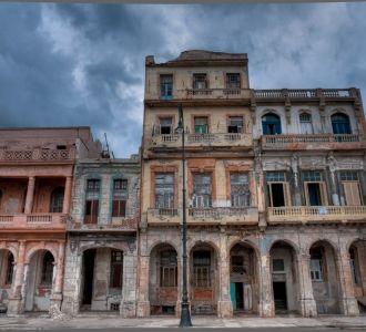 Weathered buildings, the Malecon, Havana, Cuba