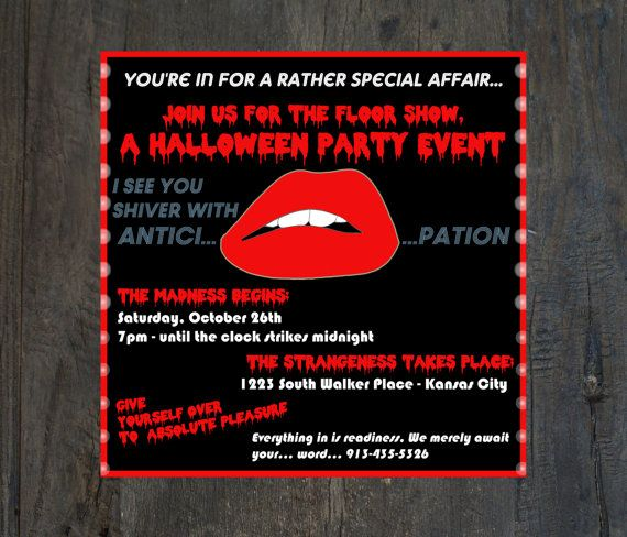 7 best rocky horror picture show party images on pinterest horror items similar to halloween party invitation costume party rocky horror picture show digital printable file or professionally printed cards on etsy bookmarktalkfo Gallery
