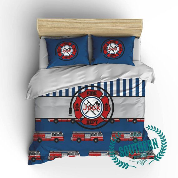 Personalized Boys Firetruck Bedding For The Future Fireman Available In Toddler Twin Twin Xl Full Queen And King Southern Basics Pinterest