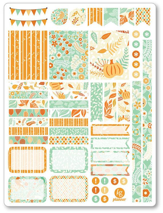 Hello Fall Decorating Kit / Weekly Spread Planner Stickers for Erin Condren…