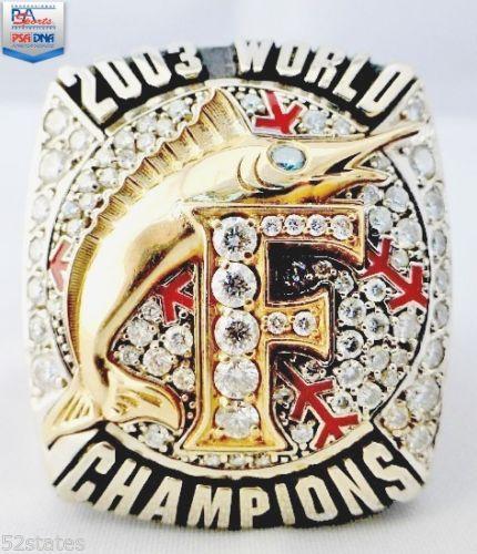 2003 MLB World Series Derrek Lee Champ Ring 14k Gold Diamonds PSA ...