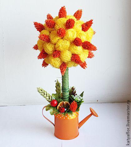 """""""Рыжик"""" топиарий из сухоцветов. Handmade."""