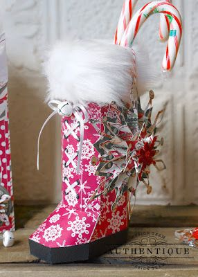 Santa's Boot Gift Box using Authentique's beautiful Christmastime paper and SVGCuts