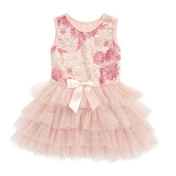 Infant Girl's Popatu Embroidered Floral Tulle Dress ($25) ❤ liked on Polyvore featuring dusty pink