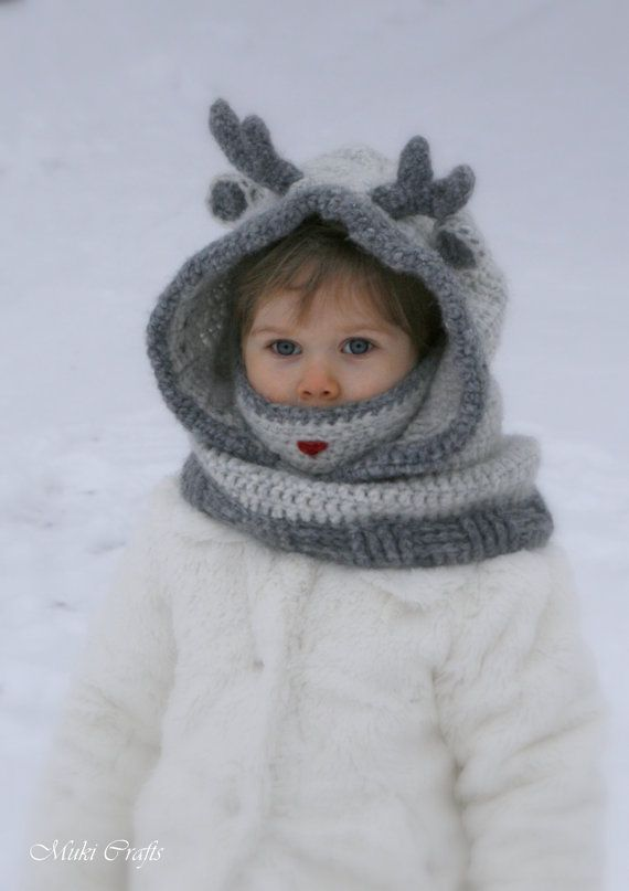 This is crochet pattern for reindeer hooded cowl Rudy with inner cowl. Worked in the round and flat with medium weight yarn. Decorated with crochet antlers (you can make easier ones by wrapping yarn around pipe cleaners) and a red nose. Perfect to look cute this winter. This will make a