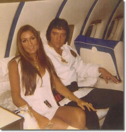 Linda and Elvis traveling on The lisa Marie Jet 1975