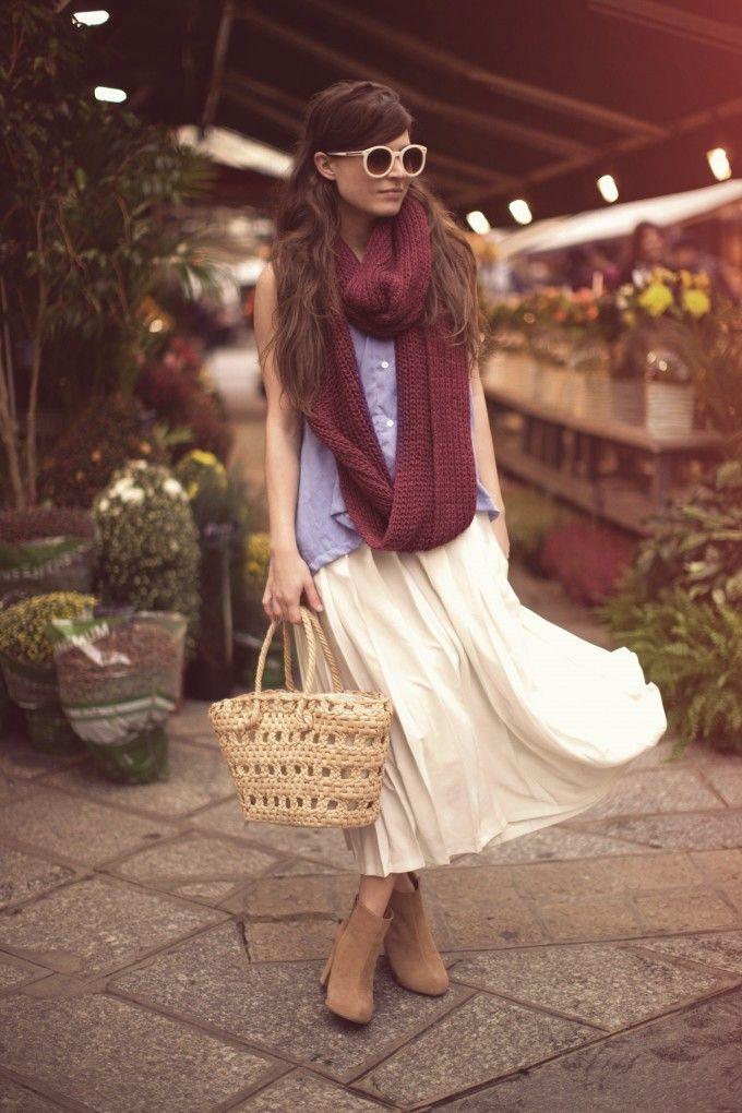 long skirt + circle knit scarf. 'The Flower Shop' via Frassy