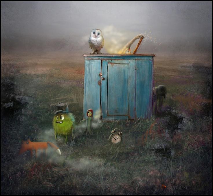 'Portal' ; mixed media illustration ; Matyda Konecka Art