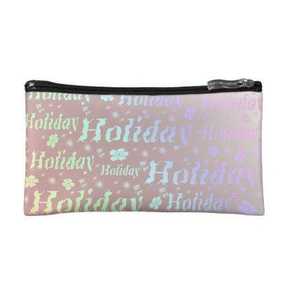 holiday Luggage tag leisure shiny metal font Makeup Bag - pattern sample design template diy cyo customize