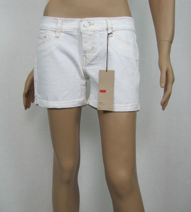 Levi's Shorts Mid Length White Denim Cuffed Juniors Shorts Sizes 7, 9 NEW #Levis #Denim 15.99