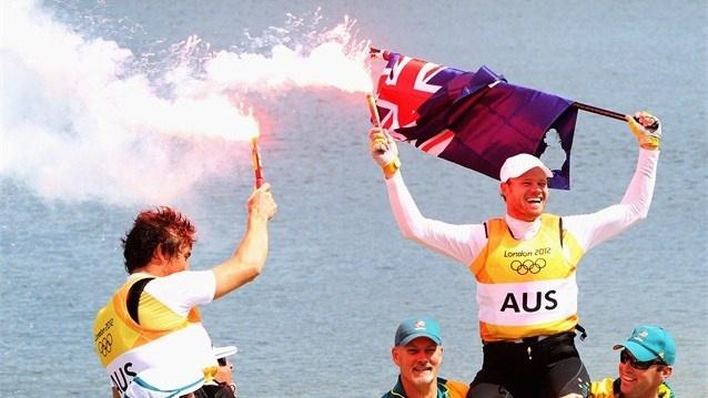 Nathan Outteridge and Iain Jensen of Australia celebrate winning gold in the Men's 49er Sailing