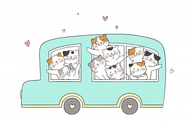 Draw Funny Cat In Green Pastel Bus In 2020 Cat Greens Funny Cats Vector Illustration Character