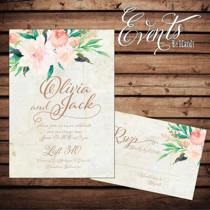 PRINTED Wedding invitation Watercolor with floral