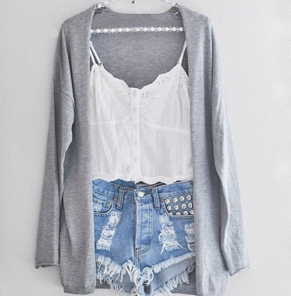 cropped cami, high rise studded shorts and a cute grey cardigan~ so cute #outfits #ootd