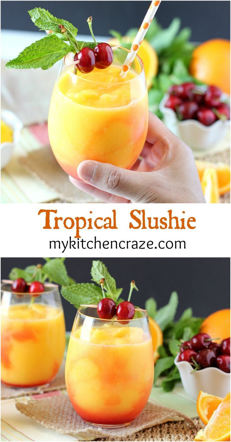 Tropical Slushie ~ mykitchencraze.com ~ A cool and refreshing drink filled with fruits and SunnyD! Yum!! #WhereFunBegins #ad