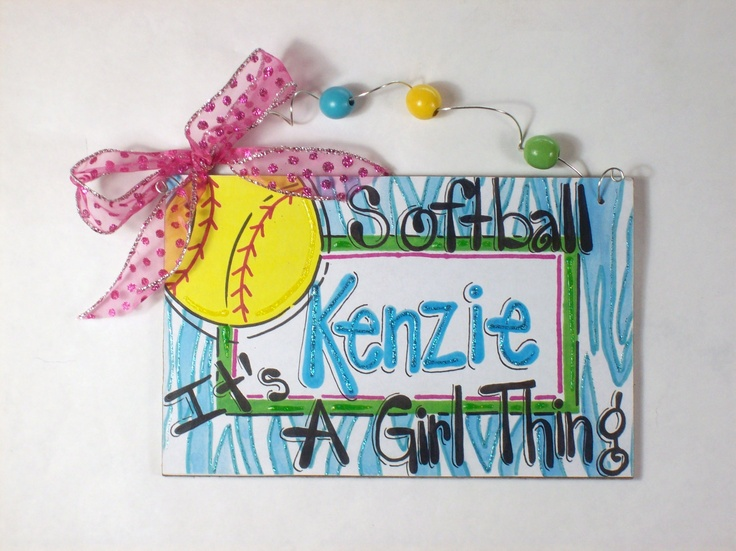 Hand Personalized Girls Softball Name Room Sign By Pinkfishstudios