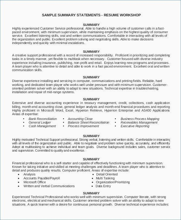 25 Executive Summary Resume Example Cover Letter Templates
