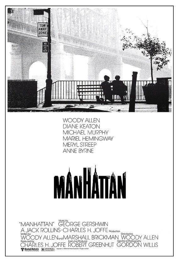 "Manhattan - Woody Allen movie - Classic Movie Comedy Poster Print - 13""x19"" or 24""x36"" - Home Theater Media room decor - Diane Keaton"