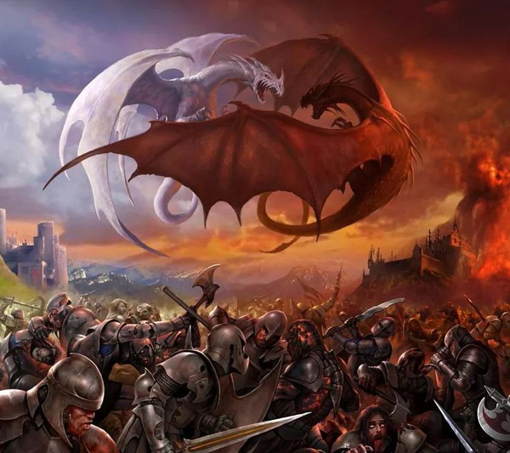 Warriors Fire And Ice Word Count: Good Vs Evil! Dragon Red Flying Above The Battlefield Of