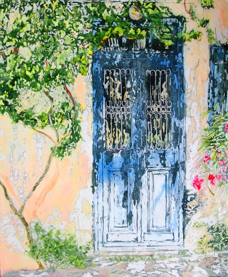 """grapevine doorway 23.75"""" x 20""""  micheal zarowsky / mixed media (watercolour / acrylic painted directly on gessoed birch panel)  / private collection"""