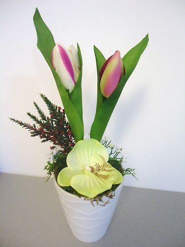 pot ceramique orchidee tulipe fleurs artificielles mousse pr serv e qualite compositions. Black Bedroom Furniture Sets. Home Design Ideas