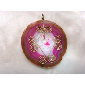 Wire wrapped round pink Agate slice pendant, 85mm