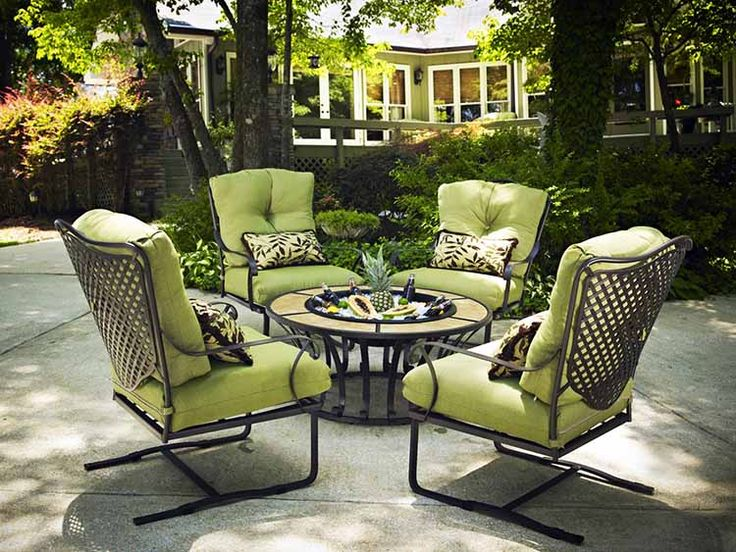 Choose from a selection of rectangular and round outdoor fire pits. Green  iron patio furniture cushions ... - 17+ Best Images About Lawn Furniture On Pinterest Vintage Metal