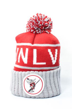UNLV Rebels Chunky Circle Patch Beanie (Gray/Red) by 123Beanies