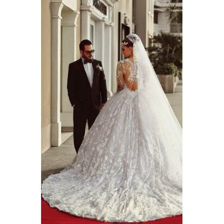 Vintage Gorgeous Lace Vestidos De Noiva- A Line Wedding Dress- Long Sleeves Bridal Gown- Sheer Back Go To www.theweddingboutique.co