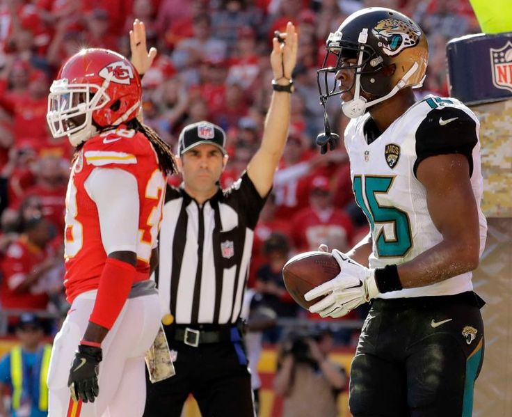 Jaguars vs. Chiefs  -  19-14, Chiefs  -  November 6, 2016  -   Jacksonville Jaguars wide receiver Allen Robinson (15) holds the ball after making a touchdown catch as Kansas City Chiefs defensive back Ron Parker, left, walks away during the first half of an NFL football game in Kansas City, Mo., Sunday, Nov. 6, 2016.